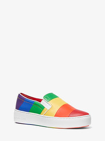 Michael Kors Dylan Rainbow Striped Leather Slip-On