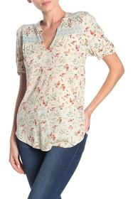 Lucky Brand Floral Short Sleeve Peasant Top