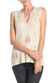 Lucky Brand Embroidered Yoke Geo Patterned Tank To