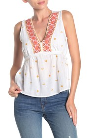 Lucky Brand Geo Embroidered Romantic Sleeveless To