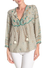 Lucky Brand Evelyn Embroidered Peasant Top