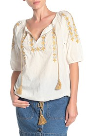 Lucky Brand Kelly Embroidered Peasant Top