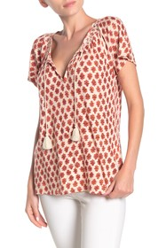 Lucky Brand Embroidered Yoke Short sleeve Peasant