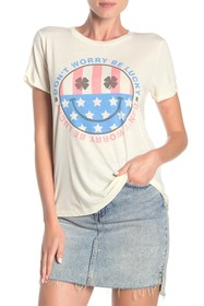Lucky Brand Don't Worry Be Lucky Crew Neck T-Shirt