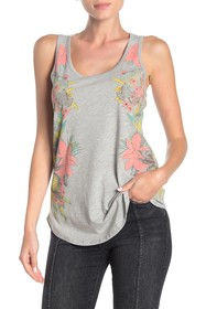 Lucky Brand Floral Print Heathered Tank Top