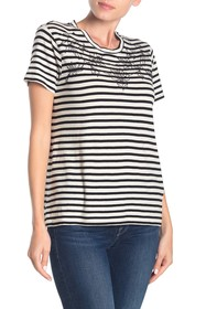 Lucky Brand Floral Embroidered Stripe T-Shirt
