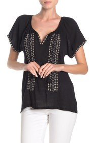 Lucky Brand Geo Embroidered Short Sleeve Peasant T