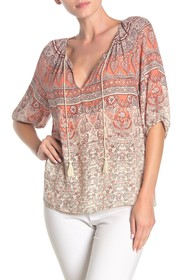 Lucky Brand Kelly Mixed Print Peasant Top