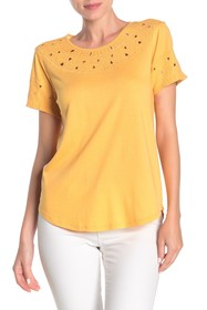 Lucky Brand Eyelet Embroidered Short Sleeve T-Shir