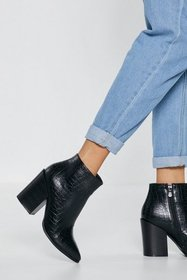 Nasty Gal Womens Black Croc and Roll Faux Leather
