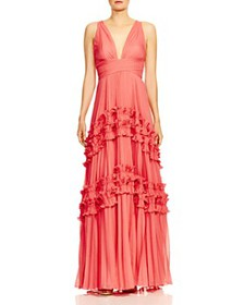 HALSTON HERITAGE - Pleated Ruffle-Trimmed Gown