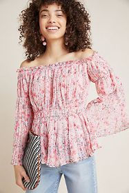 Anthropologie Pleated Off-The-Shoulder Blouse