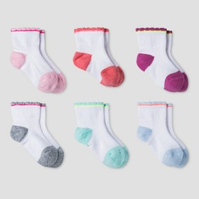 Baby Girls' Athletic Scalloped Low Cut Socks 6pk -