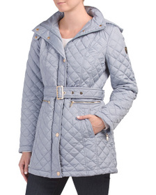 VINCE CAMUTO Hooded Quilted Jacket With Belt
