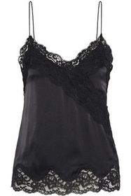 ALICE + OLIVIA Dorine lace-trimmed stretch-silk sa