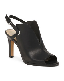 VINCE CAMUTO Peep Toe Back Strap Leather Heels