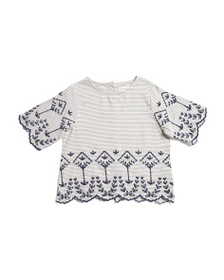 JESSICA SIMPSON Little Girls Embroidered Striped T