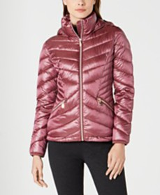 Calvin Klein Chevron Packable Down Puffer Coat, Cr