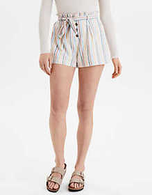 American Eagle AE High-Waisted Striped Button Fron