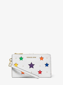 Michael Kors Adele Star-Cutout Pebbled Leather Sma