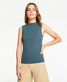 Fitted Mock Neck Shell