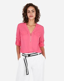 Express solid zip front chelsea popover