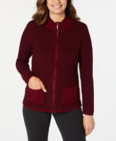Karen Scott Textured Zip-Front Cardigan, Created f