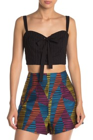 BCBGMAXAZRIA Lace-Up Bustier Cropped Top