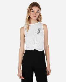 Express pineapple embroidered cropped twist tank