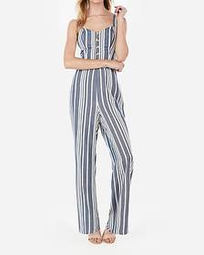 Express striped button front cut-out tie back jump