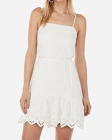 Express eyelet tie waist cami dress