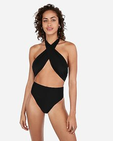 Express halter wrap one-piece swimsuit
