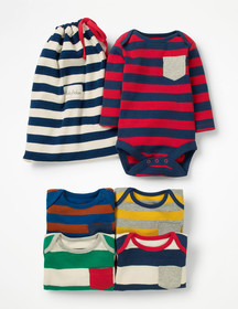 Boden 5 Pack Pocket Bodysuits