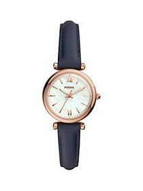 Fossil Carlie Mini Stainless Steel & Leather-Strap