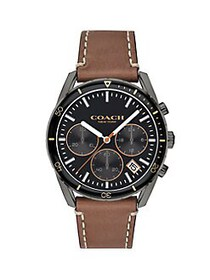 COACH Thompson Sport Leather Watch BROWN