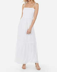 Express smocked bodice flounce maxi dress