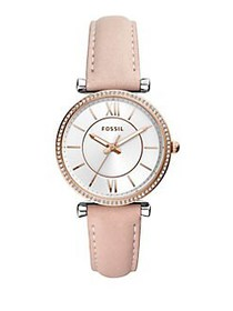 Fossil Carlie Three-Hand Leather Strap Watch BLUSH