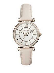 Fossil Carlie Three-Hand Leather Strap Watch WHITE