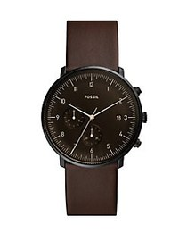 Fossil Chase Timer Chronograph Leather-Strap Watch
