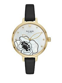 Kate Spade New York Metro Leather-Strap Watch BLAC
