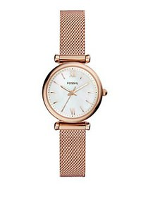 Fossil Carlie Three-Hand Rose-Goldtone Stainless S