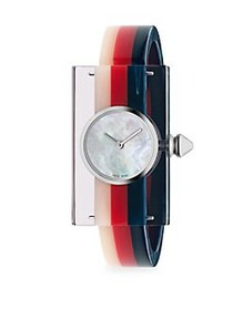 Gucci Striped Plexiglas Watch MULTI