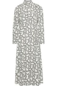 VALENTINO Pintucked printed crepe midi dress