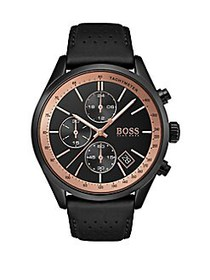 HUGO BOSS Grand Prix Stainless Steel Leather-Strap