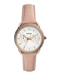 Fossil Tailor Leather-Strap Watch PINK