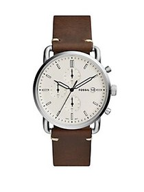 Fossil The Commuter Chrono Round Chronograph Leath