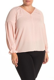 1.State Button Blouse (Plus Size)