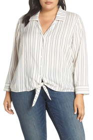 1.State Stripe Tie Front Blouse (Plus Size)