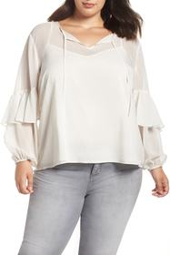 1.State Check Tie Neck Blouse (Plus Size)