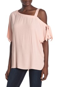 1.State One Shoulder Tie Sleeve Blouse